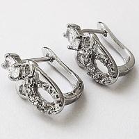 Серьги с цирконом, родиевое покрытие. Ювелирная бижутерия. Xuping Jewelry.|escape:'html'