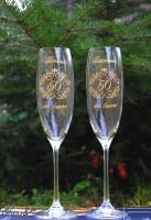 Юбилейные и свадебные бокалы с гравировкой с заливкой краски. Для шампанского из богемского стекла.