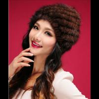 Вязаная норковая шапка женская. Коричневая|escape:'html'