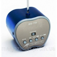 Портативная акустическая система (Mini Speaker) WS-758 с MP3-плеером и FM-радиоприемником Код:23134169
