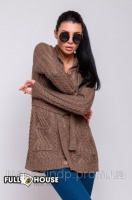 Вязаный свитер - 15704 цвет визон Код:6366|escape:'html'