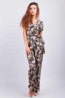 Комбинезон женский, цветочный принт AG-0003160 Черно-фиолетовый escape:'html'