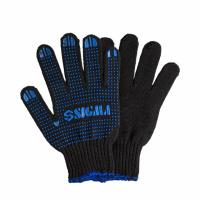 Перчатки трикотажные с ПВХ точкой р10 Оптима (черные) Sigma (9442531)|escape:'html'