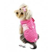РАСПРОДАЖА! Рубашка классическая с кружевом для собак розовая escape:'html'