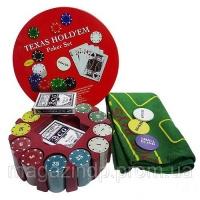 Покерный набор на 240 фишек с номиналом в круглой металлической упаковке №240Т Код:426318924|escape:'html'