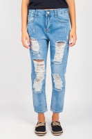 Джинсы женские рваные модные AG-0003952 Светло-синий