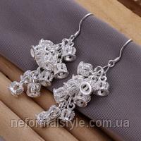 Ювелирная бижутерия Tiffany серьги- подвески «корона» (покрытие серебро 925)|escape:'html'