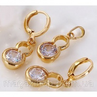 Набор серьги, кулон, цепочка позолота Gold Filled (GF141) Код:5510