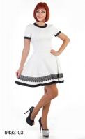 Платье трикотажное белого цвета с кружевом|escape:'html'