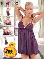 Miorre комплект: babydoll и трусики-стринги фиолетовый/красный