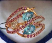 Золотое кольцо БРИЛЛИАНТ, ТОПАЗЫ, ГРАНАТЫ 585 проба размер 19,5|escape:'html'