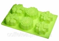 Форма силиконовая «6 цветов» для кексов и маффинов