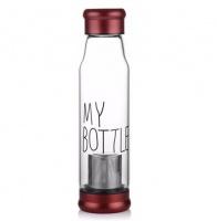 Стеклянная бутылка My Bottle 550 мл с ситечком для заварки красный|escape:'html'