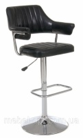 Барный стул хромированный В-90 с подлокотниками блестящий черный кожзам escape:'html'