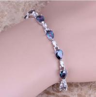 Женский серебряный браслет на руку с мистик топазом escape:'html'