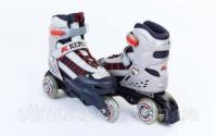 Роликовые коньки раздвижные детские KEPAI SK-321BK (р-р S-28-31, M-32-35) PL, PVC, колесо PU, изменен. полож. колес, черно-серый)|escape:'html'