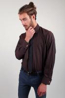 Рубашка мужская классическая под запонки AG-0002275 Темно-коричневый|escape:'html'
