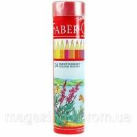 Карандаши цветные Faber_Castell 115827 24цвета шестигранные красная линия, металл. тубус Код:401626022 escape:'html'