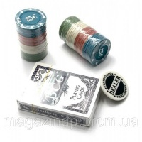 Покерный набор в блистере (колода карт,48 фишек)(24,5х10х4 см)(вес фишки 4 гр. d-39 мм) Код:25180 escape:'html'