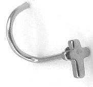 Украшение для пирсинга носа «Крест» из медицинской стали без вставок (изогнутая нострилла)|escape:'html'