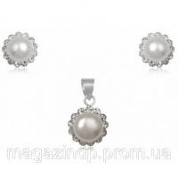 Набор TN392. Натуральный жемчуг, серебро 925 Код:2982