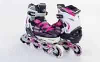 Роликовые коньки раздвижные  ZELART Z-812P  (р-р 34-37, 38-41)  (PL, PVC, колесо PU, алюм. рама, розовый) escape:'html'