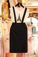 Модный костюм с красивыми стразами и облегающая юбка на подтяжках Paris