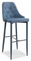 Барный стул Florino голубой сиденье и спинка мягкие, ножки обтянуты тканью|escape:'html'