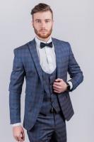 Стильный мужской пиджак в клетку AG-0003045 Серо-синий|escape:'html'