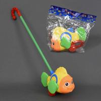 Каталка 0366 (96) «Рыбка» на палочке, с погремушкой, двигает плавниками, в кульке|escape:'html'