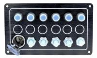 Панель на 5 переключателей + 1 прикуриватель Тайвань 10052-BK.|escape:'html'