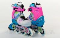 Роликовые коньки раздвижные  ZELART Z-097BP(30-33, 34-37, 38-41) SPRING (PL, PVC,колесо PU,алюм. рама,син-роз)|escape:'html'
