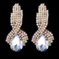 Серьги «Piaget white» позолоченные с кристаллами swarovski escape:'html'