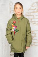 Куртка детская парка «Попугай» матовая плащевка, утеплитель холофайбер (весна), капюшон, 34-42