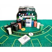 Покерный набор (2 колоды карт,200 фишек,сукно)(25,5х20,5х10 см)(вес фишки 4 гр. d-39 мм) Код:23716|escape:'html'