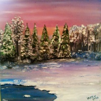Картина маслом «Зимний вечер». Автор-художник Ирина Борисова