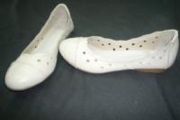 Балетки женские из натуральной кожи, белые