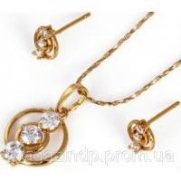 Набор серьги, кулон, цепочка позолота Gold Filled (GF243) Код:5645|escape:'html'