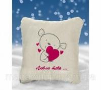 Декоративная подушка с вышивкой «Люблю тебя» Код:526935590
