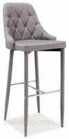 Барный стул Florino серый сиденье и спинка мягкие, ножки обтянуты тканью escape:'html'