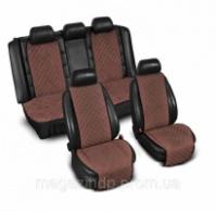 Накидки на сиденье «Эко-замша» широкие (комплект) без лого, цвет коричневый Код:639926568|escape:'html'