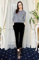 Велюровая блуза в черно-белую полоску|escape:'html'