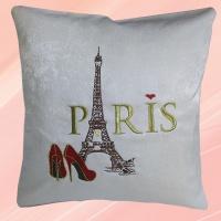 Подушка с вышивкой Париж бежевая