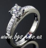 Золотое кольцо Тиффани из белого золота