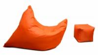 Оранжевое кресло мешок подушка 120*140 см и пуфик-кубик из ткани Оксфорд, кресло-мат|escape:'html'