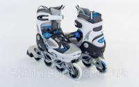 Роликовые коньки раздвижные  ZELART Z-636B (р-р 32-35, 36-39) (PL, PVC, колесо PU, алюм. рама, синий)|escape:'html'