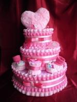 Торт трех ярусный «Розовое сердце». escape:'html'