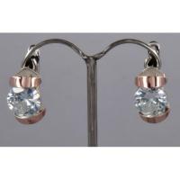 Серебряные серьги со вставками золота и фианита «Playful rings».