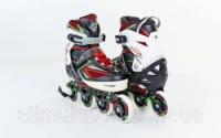 Роликовые коньки раздвижные  ZELART Z-9002RG(35-38, 39-42) PERFECTION (PL, PVC,колесо PU,алюм. рама,крас-салат) escape:'html'