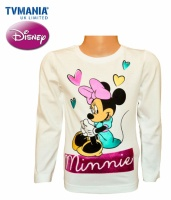 Лонгслив детский «Мини Маус» для девочек белый (футболка с длинным рукавом), бренд Дисней («Disney»)